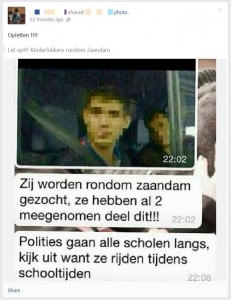 'Kinderlokkers in Zaandam', waarschuwing op Facebook, 9 april 2014