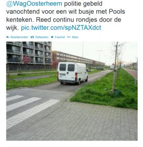 Inwoner van Zoetermeer waarschuwt wijkagent voor verdacht Pools busje, 7 april 2014.
