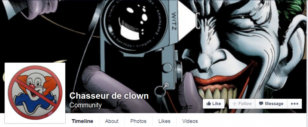 Facebookpagina Chasseur de Clown