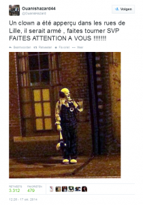 Tweet over clown in Lille