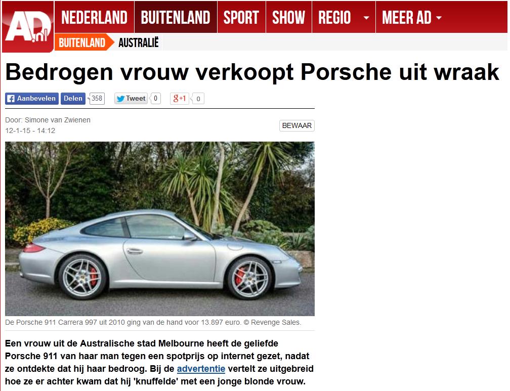 Bedrogen vrouw verkoopt Porsche uit wraak